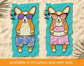 "Corgi Beach Towel - 30"" x 60"" or 36"" x 72"""