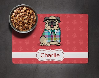 Personalized Pug Placemat - Dog Bowl Place Mat - Pug Gift  - choose color scheme/frame shape/font