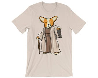 Corgi Shirt - Yoda Corgi Tee Shirt - Red/White Pembroke - Unisex short sleeve t-shirt