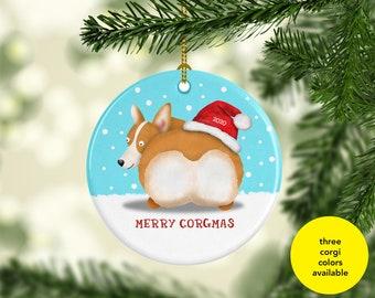 2020 Corgi Butt Ornament - Three corgi colors to choose from