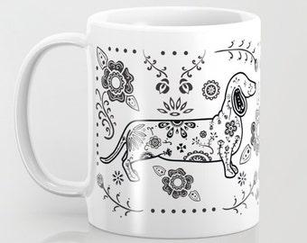 Sugar Skull Black & White Dachshund Mug - Dachshund Coffee Mug - Dia de los muertos - Dia de los Doxies - Pet Lover Gift- Doxie Mug