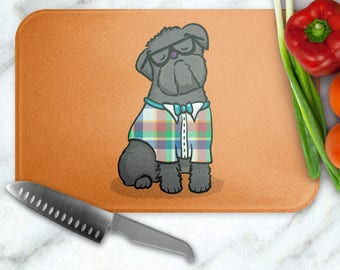Brussels Griffon Glass Cutting Board - Brussels Griffon cutting board - Beige or Black Brussels Griffon available - choose background color