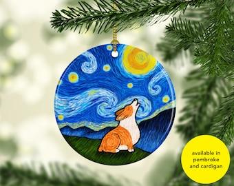 Corgi Ornament - Available in pembroke and cardigan colors - Starry Night Corgi Ornament