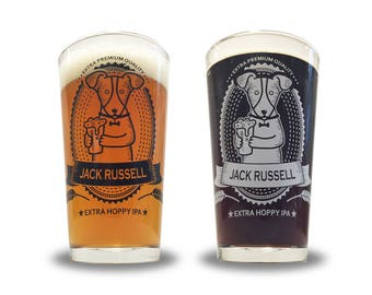 Jack Russell Terrier Pint Glass - Jack Russel Terrier gifts - Choose between white or black