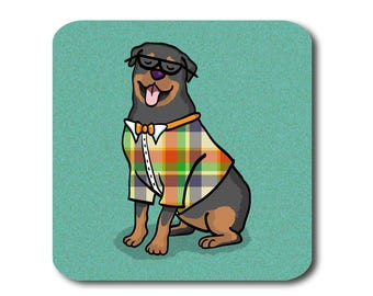 Rottweiler Coasters - Fun Rottweiler Coasters - Set of 4 - Rottweiler Gift - Choose Background Color