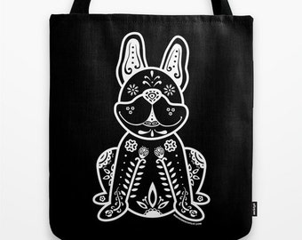 Sugar Skull Frenchie Tote Bag - Dia de los Muertos - Dia de los Frenchies - French Bulldog Tote Bag - Frenchie - Pet Lover Gift