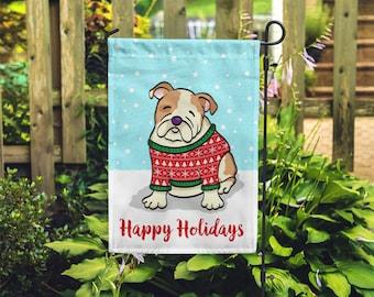 Holiday English Bulldog Garden Flag - Unique English Bulldog Gift - English Bulldogs - Holiday English Bulldog Garden Flag