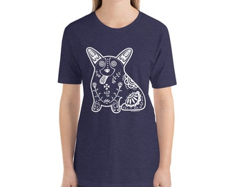 Sugar Skull Corgi - Short-Sleeve Unisex T-Shirt