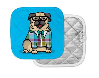 "Pug Potholder - ""Pug Geek"" Pug Pot Holder - Choose Background Color"