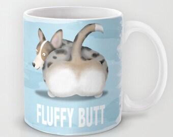 Blue Merle Cardigan Corgi Coffee Mug - Corgi - Pet Lover Gift - Fluffy Butt - Corgi Mug - CHOOSE BACKGROUND COLOR