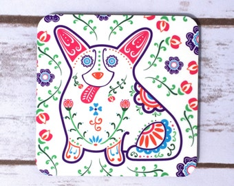 Sugar Skull Corgi Coasters - Set of 4 - Dia de los corgis -  Welsh Corgi Coasters - Day of the Dead - Dia de los Muertos Corgi Coaster
