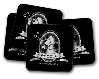 Poodle Beer Label Coasters - Set of 4