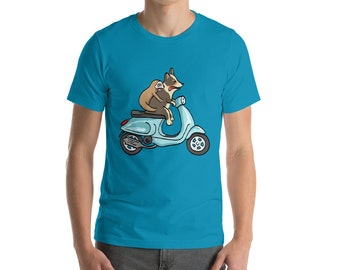 Black Tri Corgi with Sloth on Vespa - Short-Sleeve Unisex T-Shirt