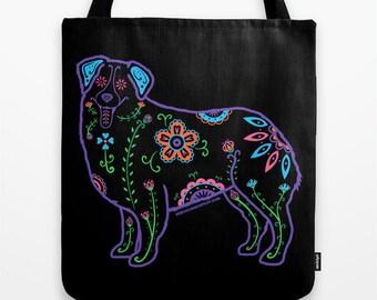 Color Sugar Skull Australian Shepherd Tote Bag - Dia de los Muertos - Dia de los Aussies - Australian Shepherd Tote Bag - Pet Lover Gift