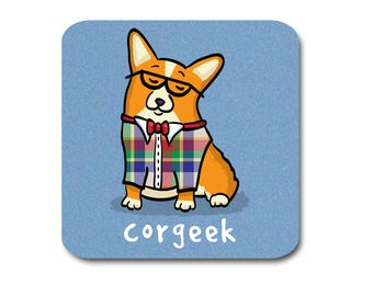 Corgi Coasters - Corgeek Coasters - Set of 4