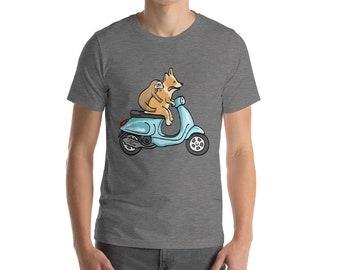 Corgi with Sloth on Vespa - Short-Sleeve Unisex T-Shirt