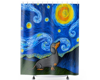 Dachshund Shower Curtain - Starry Baroo Dachshund Shower Curtain - Three Dachshund Colors to choose from