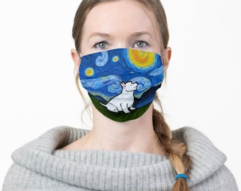 Westie Face Mask - Starry Night West Highland Terrier Face Mask - Face Mask Coverlet
