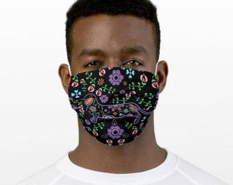 Dachshund Face Mask - Sugar Skull Dachshund Face Mask - Face Mask Coverlet - Color on Black