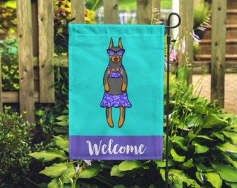 Doberman Pincher Garden Flag (GIRL) - Unique Doberman Gift - GIRL Doberman Garden Flag