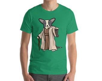 Corgi Shirt - Yoda Cardigan Corgi Tee Shirt - Black White Cardigan Corgi - Unisex short sleeve t-shirt