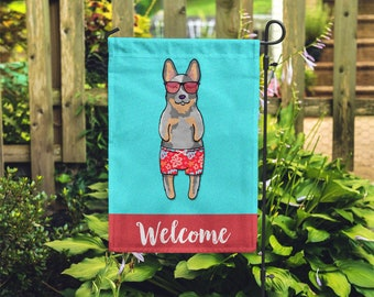 Australian Cattle Dog Garden Flag (BOY) - Unique Blue Heeler Gift - BOY Sunbathing Cattle Dog Garden Flag