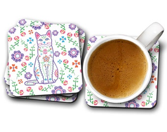 Sugar Skull Cat Coasters - Set of 4 - Dia de los Gatos -  Cat Coasters - Day of the Dead - Dia de los Muertos
