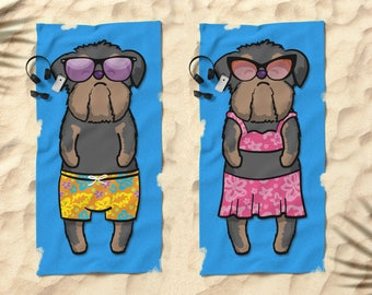 "Black/Tan Brussels Griffon Beach Towel - Brussels Griffon Gift - 30"" x 60"" or 36"" x 72"" - Boy or Girl Sunbathing Brussels Griffon"