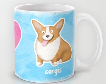 Peace, Love, Corgis - Pembroke Welsh Corgi Coffee Mug - Pet Lover Gift -  Corgi Mug