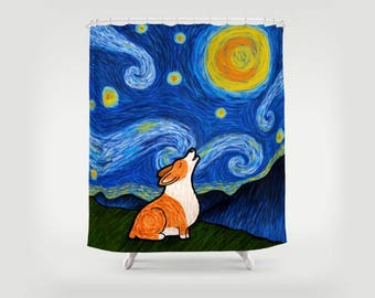 Corgi Shower Curtain - Starry Baroo Corgi Shower Curtain - Pembroke and Cardigan