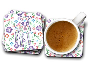 Sugar Skull Pit Bull Coasters - Set of 4 - Dia de los Pit Bulls -  Pitbull Coasters - Day of the Dead - Dia de los Muertos Pit Bull Coaster