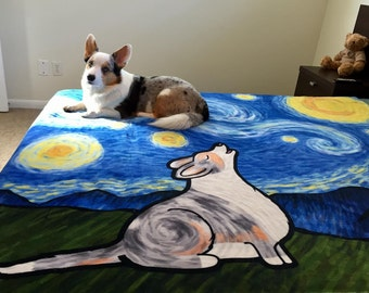 "Pembroke or Cardigan Corgi Blanket - Starry Baroo 50"" x 60"" or 60"" x 80"""