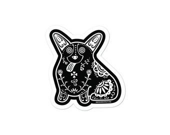 Sugar Skull Corgi - Bubble-free stickers