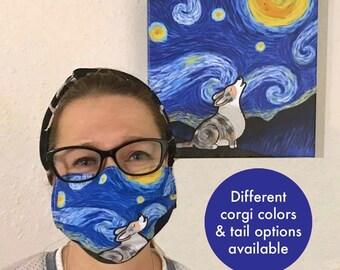 Corgi Face Mask - Starry Night Corgi Face Mask - Face Mask Coverlet