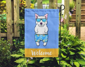Westie Garden Flag (BOY) - Unique Westie Gift - BOY Sunbathing Westie Garden Flag - West Highland Terrier