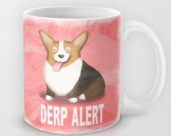 Pembroke Welsh Corgi Coffee Mug - Corgi - Pet Lover Gift - Derp - Red Headed Tri Corgi - CHOOSE BACKGROUND COLOR