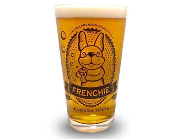 Featured listing image: French Bulldog Pint Glass - Snorting Stout