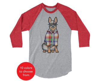 Australian Cattle Dog, Blue Heeler Raglan 3/4 Sleeve Shirt - Australian Cattle Dog Shirt - Australian Cattle Dog Gift - T Shirt