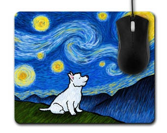 Westie West Highland Terrier Mousepad  - Unique Westie Gift - Starry Night Westie