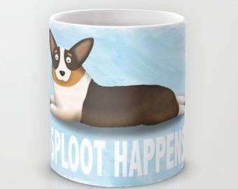 Pembroke Welsh Corgi Coffee Mug - Corgi - Pet Lover Gift - Sploot Happens - Corgi Mug - CHOOSE BACKGROUND COLOR