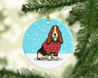 2020 Basset Hound Ornament - Ugly Sweater Basset Hound Ornament - 2020
