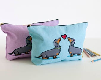 "Dachshund Pouch - Large dachshund accessory Bag 12.5 x 7""- Travel Bag/Makeup Bag - Two Color Choices"