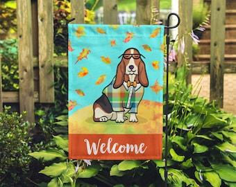 BOY Basset Hound Garden Flag - Unique Basset Hound Gift - Basset Hound -  Autumn Fall Basset Hound Garden Flag
