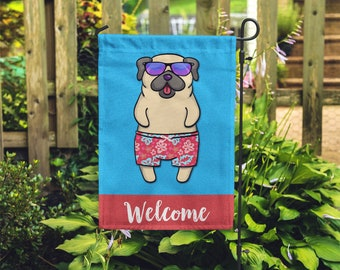 Pug Garden Flag (BOY) - Unique Pug Gift - BOY Sunbathing Pug Garden Flag