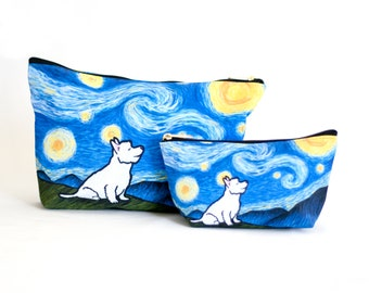 "Westie West Highland Terrie Accessory Bag - ""Starry Baroo"" Travel Bag/Makeup Bag/Pencil Pouch"