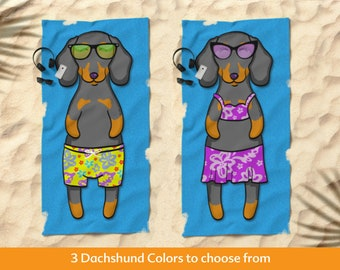 "Dachshund Beach Towel - 30"" x 60"" or 36"" x 72"""