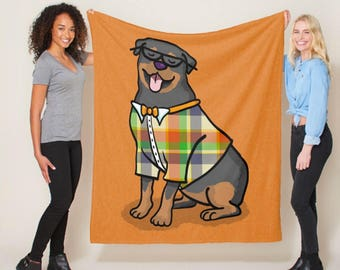 "Rottweiler Blanket - Hipster Rottweiler - sizes - 50"" x 60"" or 60"" x 80"" -  Choose background Color - Rottweiler Gift"
