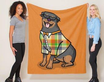 "Rottweiler Blanket - Hipster Rottweiler - sizes - 50"" x 60"" or 60"" x 80"" -  Choose background Color - Rottweiler Gift"