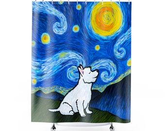 Westie West Highland Terrier Shower Curtain - Starry Night Westie Shower Curtain - Westie Gift
