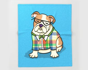 "English Bulldog Blanket - Hipster English Bulldog - sizes - 50"" x 60"" or 60"" x 80"" -  Choose background Color"